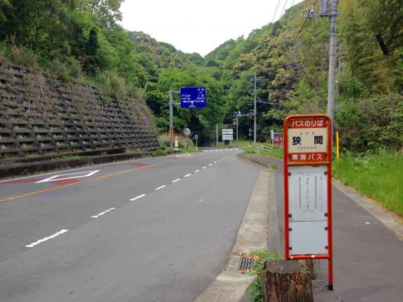 狭間バス停(河津駅方面)修善寺駅側風景